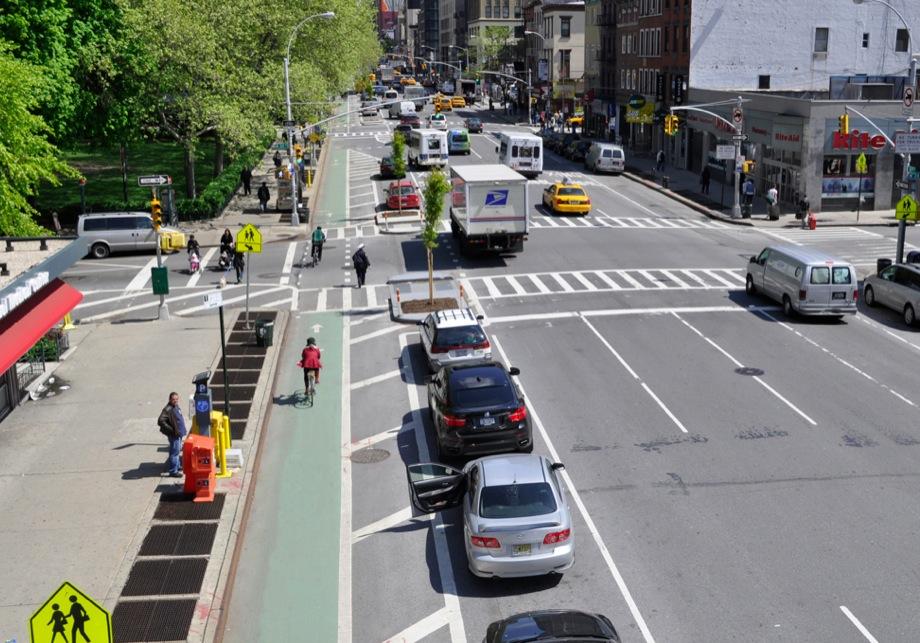 Parking Protected Bike Lane NYC