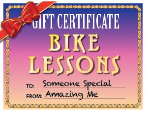 Gift Certificate for Private Learn to Ride Bike Lesson
